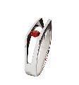 Ring, Au 585 white gold ° tests, with inserts from precious and semiprecious stones