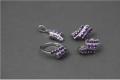 Украшения ювелирные, серьги, кольцо, подвеска, серебро родированное 925 пробы, аметисты
