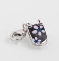 Брелок серебряный, родированный, эмаль, серебро 925° пробы .Изделия ювелирные