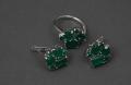 Изделия ювелирные, кольцо, серьги с зеленым агатом, 925 проба, камни полудрагоценные
