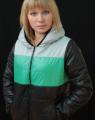 Куртка женская на синтепоне теплая с салатовой полоской 04/5