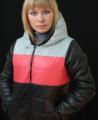 Куртка женская на синтепоне теплая с коралловой полоской 04/3