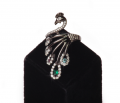 """Кольцо серебряное """"Павлин"""",вставки кубический цирконий, покрытое черным родием (Артикул 30335)."""
