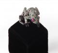 """Кольцо серебряное """"Лягушка"""",вставки кубический цирконий,покрытое черным родием (Артикул 30334)."""