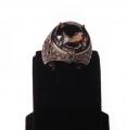 """Кольцо серебряное """"Эксклюзив"""", вставки  раухтопаз,кубический цирконий, покрытое черным родием (Артикул 40126.17.5)."""