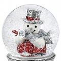 Снежный шар музыкальный Снеговик и птичка