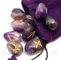 Руны каменные, Аметист (набор рун 25 шт.)