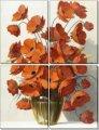 Модульная картина Ваза с красными маками, Неизвестен