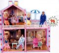Дом для барби на 3 комнаты  с куклой