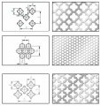 """The punched sheets of metal, perfolist Type 6.3 for design with fancy openings, Type 6.4 with fancy openings of look """"hexagon"""", Type 6.5, with fancy openings """"east patterns"""