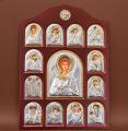 Икона арочной формы В деревянной рамке Иконостасы лик прописанный Ангел Хранитель серебро, позолота