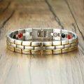 Турмалиновый магнитный браслет узкий позолота 4В1 8035