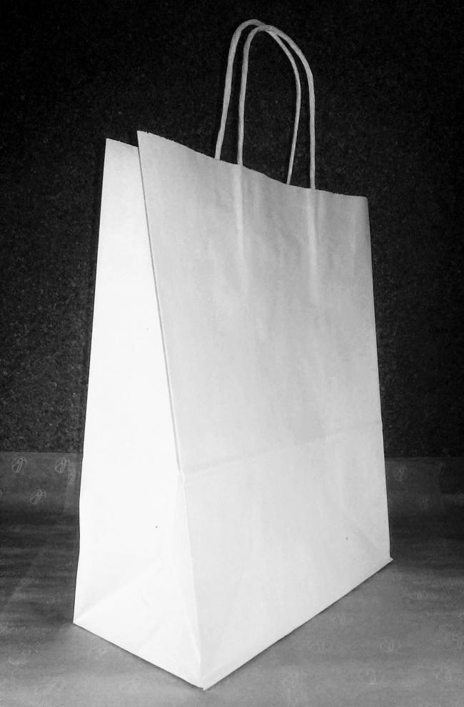 Пакет бумажный с кручеными ручками, крафт белый