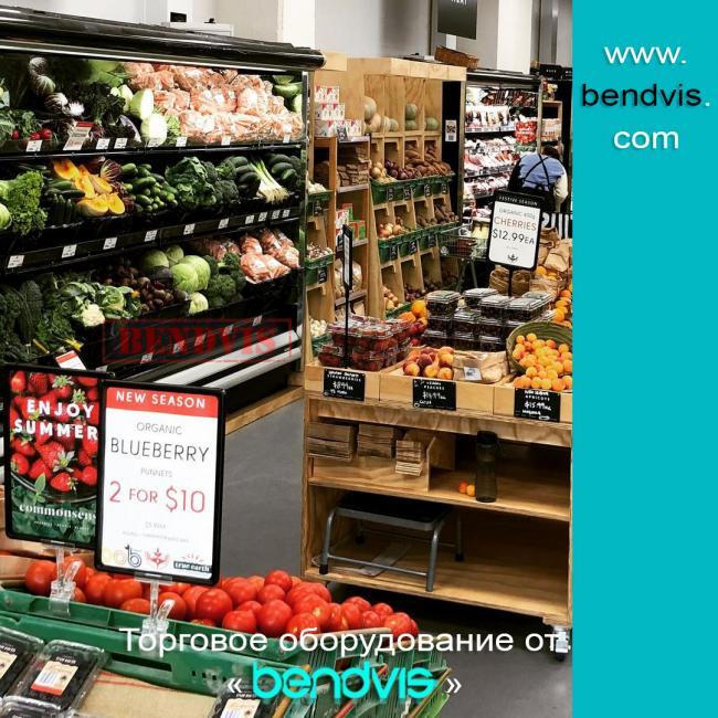Стеллажи торговые для овощей и фруктов и их виды