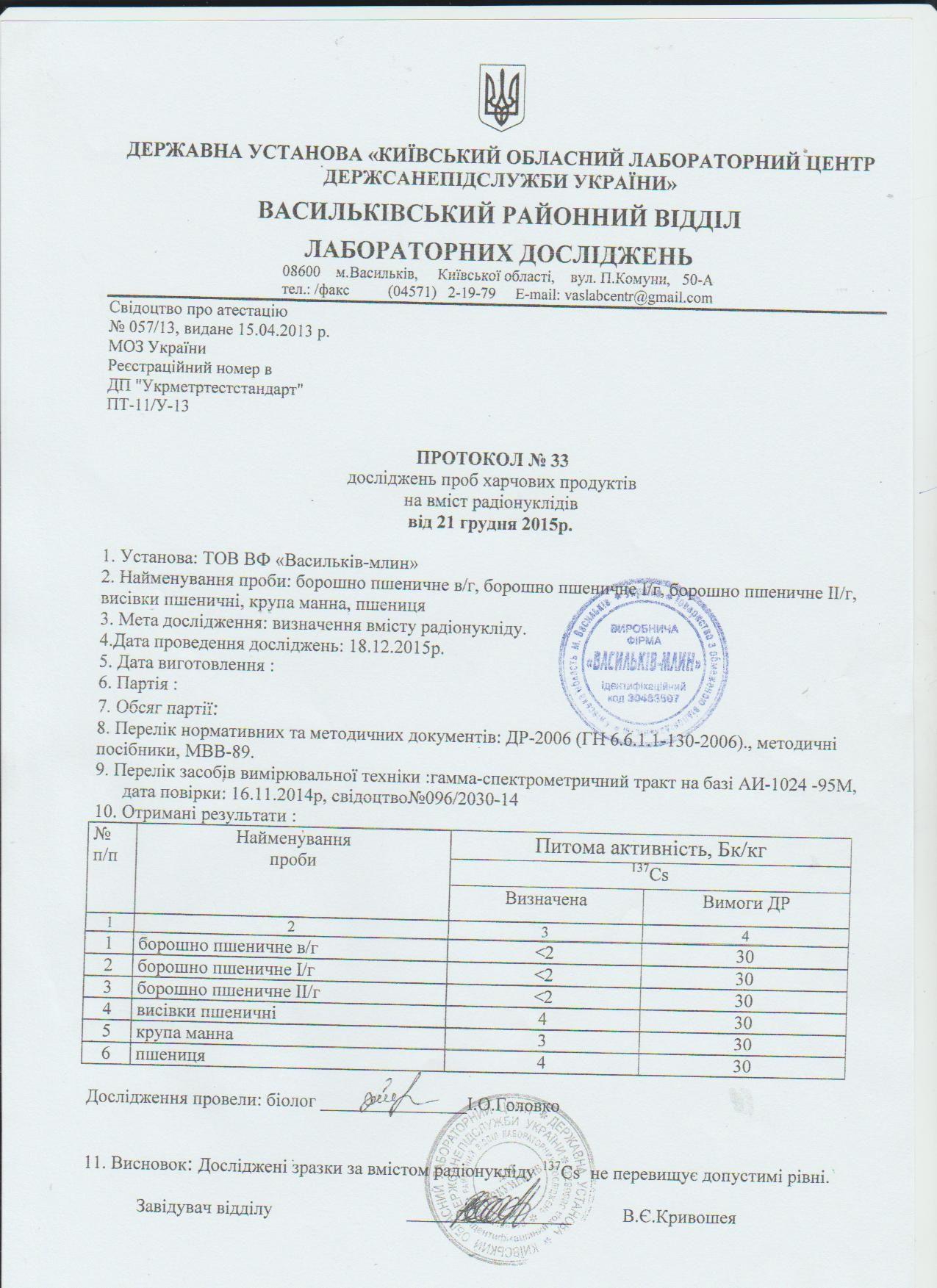 Васильков-Млын, ВФ ООО