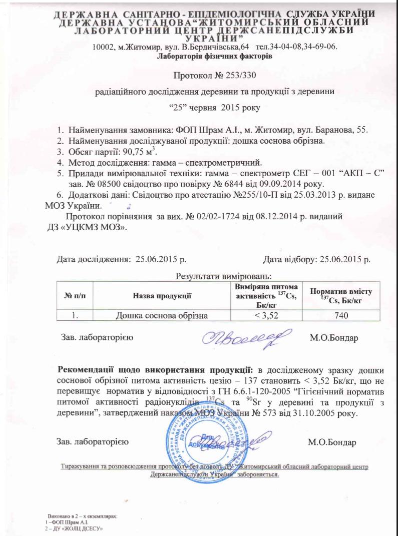 Пиломатериалы Житомир, Экспорт - Шрам, СПД