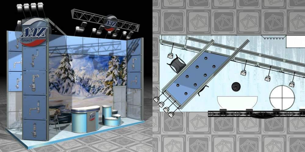 Заказать Разработка дизайн-проекта выставочного стенда, за 1 кв.м.