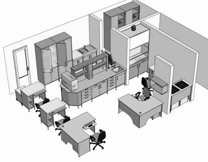 Заказать Проектирование лабораторий (мебель)