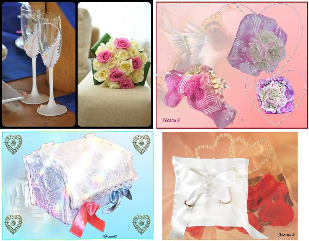 Заказать Свадебные аксессуары на заказ: бокалы, подушечки, сундучки, подвязки, букеты-дублеры