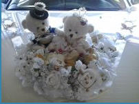 Заказать Мишки Тедди, изготовление украшений для свадебных автомобилей, цветочное оформление свадеб.