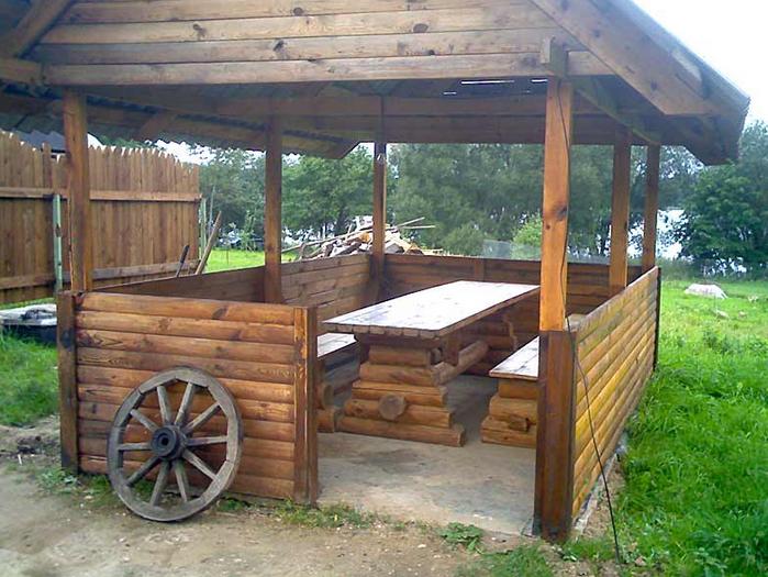 Заказать Строительство деревянной беседки на дачу