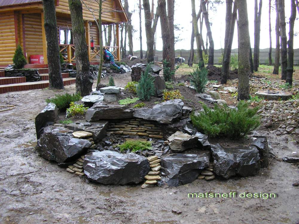 Заказать Ландшафтный дизайн с использованием разных видов камней