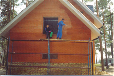 Очистка фасадов от высолов, гидрофобизация