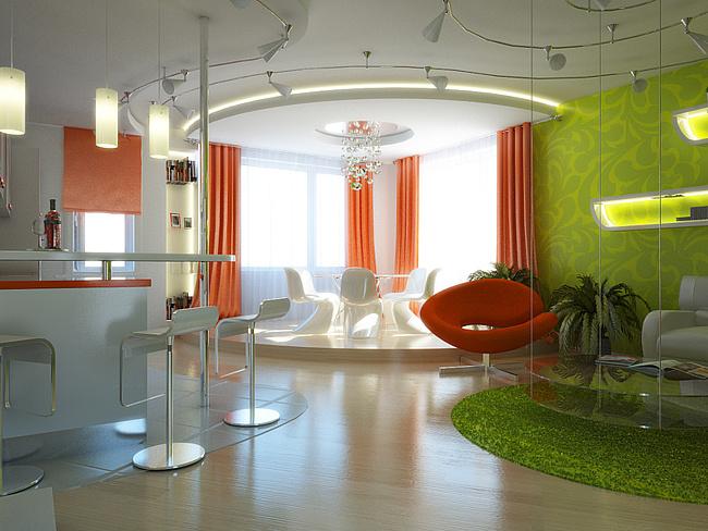 Заказать Дизайн зала, дизайн гостинной
