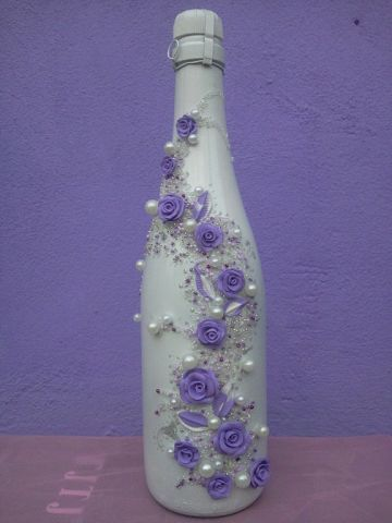 Заказать Декор свадебных бокалов, бутылок шампанского на заказ. Доставка по Украине.