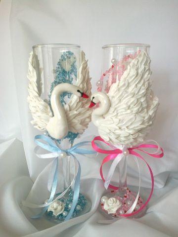 Заказать Декор свадебных бокалов на заказ. Доставка по Украине.