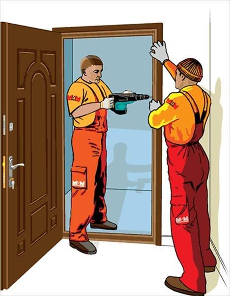 Заказать Установка монтаж дверного блока