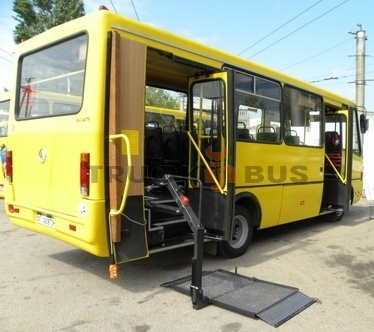 Re-equipment of buses for physically disabled people
