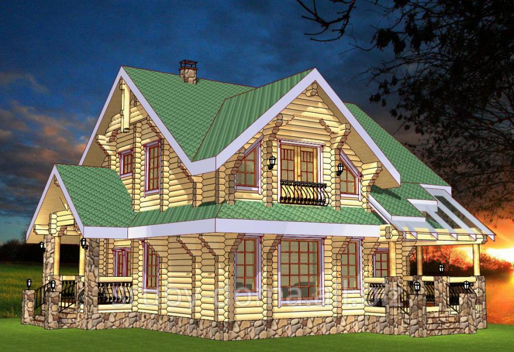 Заказать Строительство деревянных коттеджей по индивидуальным проектам из дикого сруба. Акция - 1350 грн. за м² по стене.