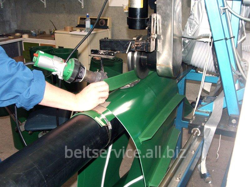 Шевронирование полимерных конвейерных лент - установка ПВХ ПУ лопаток