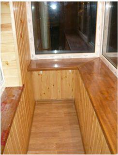 Заказать Внутренняя обшивка балкона деревянной вагонкой
