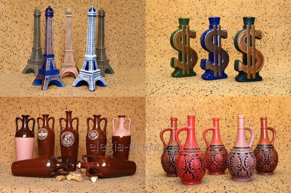 Production of souvenir bottles, development and production of exclusive bottles, bottles for alcoholic drinks, vodka, wine, cognac, alcohol, creation of a bottle under the order