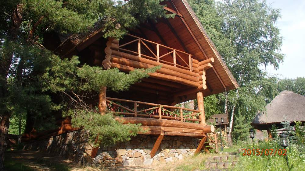 Construction of wooden guest lodges