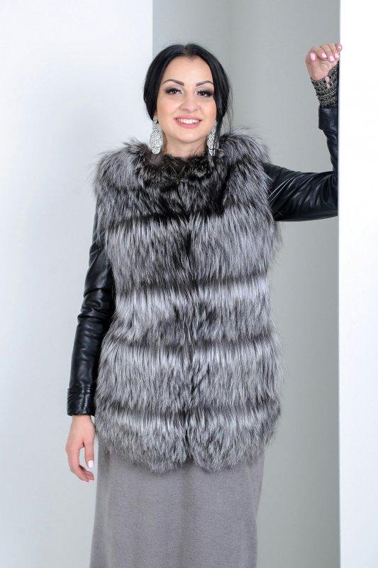 """Кожаная куртка с мехом чернобурки """"Зариль"""""""