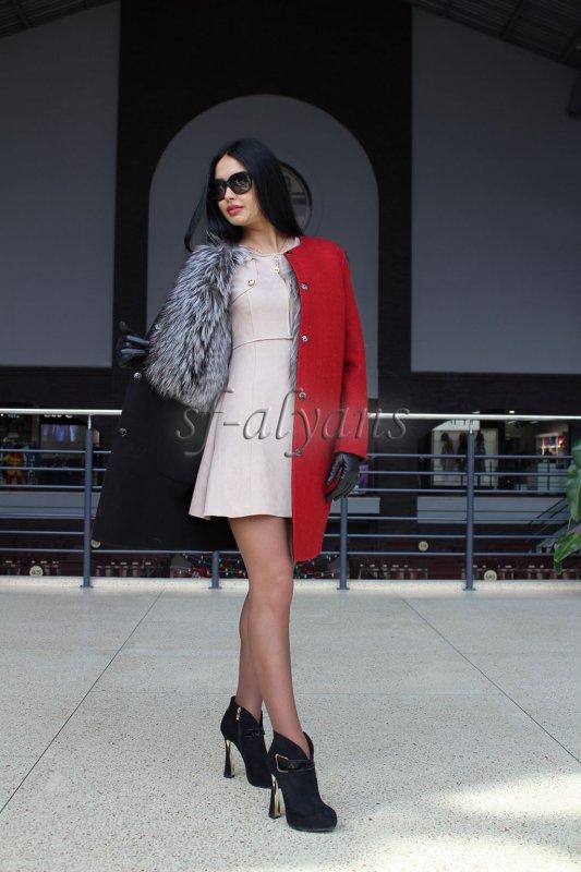 """Заказать Пальто двухстороннее чёрно-красное с чернобуркой """"Дейзи"""""""
