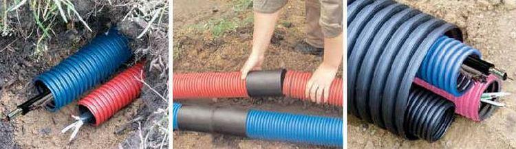 """Заказать Прокладка кабеля в земле в пластиковой трубе, диаметром до 32 """" на глубине до 0.8 метра"""