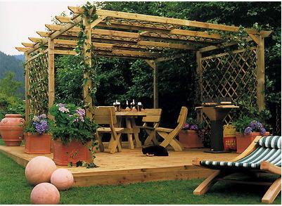 Заказать Беседки, конструкции для крытых аллей деревянные