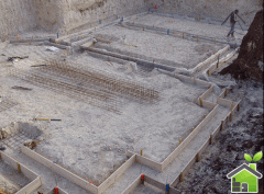 Construction of the house with use of blocks of