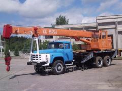 Services of truck cranes in Brovaram Kiev region.