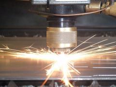 Laser cutting of sheet material.