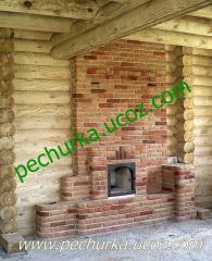 The heating furnace with a stove bench and chimney