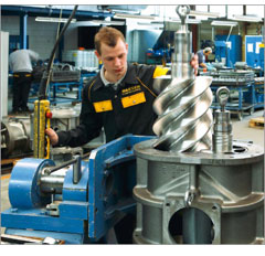 Repair and service of the compressor equipment