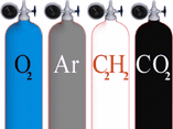 Delivery of oxygen, argon, carbonic acid, gas