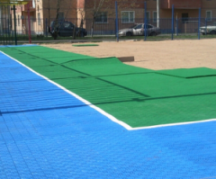 Construction of tennis courts.