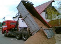 Поставка щебня, песка, грунта, керамзита, цемента