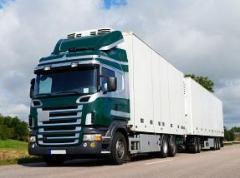 Cargo delivery automobile across Kiev and Ukraine